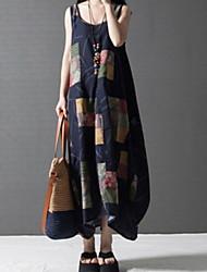 cheap -Women's Navy Blue Dress A Line Geometric M L Loose
