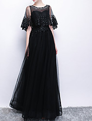 cheap -A-Line Jewel Neck Floor Length Polyester Elegant / Black Prom / Wedding Guest Dress with Appliques / Tier 2020