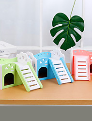 cheap -Wooden Double Decker Hamster House with Stair Pet Home Hideout Exercise Toys for Squirrels Gerbils Hamsters Golden Bears Small Animals