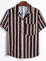 cheap -Men's Daily Basic Shirt - Striped Black & White, Print Rainbow
