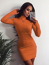 cheap -Women's Bodycon Dress - Solid Color Black Yellow Orange S M L