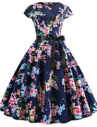 cheap -Women's Navy Blue Dress Vintage Style Street chic Party Daily Swing Print Patchwork Print S M / Cotton