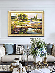 cheap -Art Prining Country Side Landscape Oil Painting With Wooden Frame Vintage Antique Wall Picture