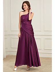 cheap -A-Line Elegant Purple Wedding Guest Formal Evening Dress One Shoulder Sleeveless Floor Length Tulle Polyester with Pleats Ruched 2020