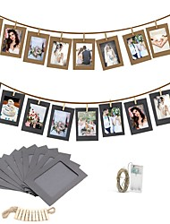 cheap -10PCS DIY Photo Frame Wooden Clip Paper Picture Holder Wall Decoration For Wedding Graduation Party Photo Booth Props with 30 Led Light String