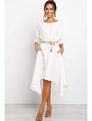 cheap -Women's A Line Dress - Solid Color White M L XL