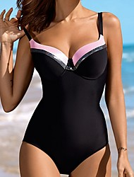 cheap -Swimwear Black One Piece Swimsuit Plus Size Swimwear Women Bodysuit Push Up Swimsuits Vintage Retro Bathing Suits Beachwear