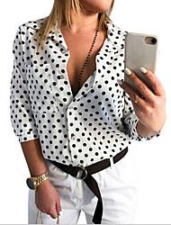 cheap -Women's Polka Dot Shirt Daily Shirt Collar Wine / White / Black
