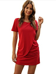 cheap -Women's Wine Red Dress Basic Bodycon Solid Color S M