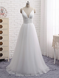 cheap -A-Line V Neck Floor Length Tulle Minimalist / White Engagement / Formal Evening Dress with Pleats 2020