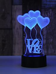 Недорогие -AuCD 3D воздушный шар в форме сердца на День святого Валентина Романтическая ночь свет лампы Красочные акриловые лампы для дома и спальни 10