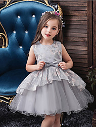 cheap -Kids Little Girls' Dress Solid Colored Flower / Floral Layered Dress Party Layered Tulle Embroidery Blue Blushing Pink Green Princess Dresses
