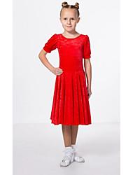 cheap -Kids' Dancewear Club Costume Girls' Performance Polyester Taffeta Pleats Short Sleeve Dress