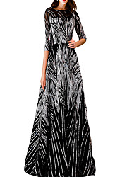 cheap -A-Line Jewel Neck Floor Length Polyester Glittering / Black Prom / Formal Evening Dress with Sequin / Appliques 2020