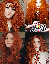 cheap -Brave Merida Cosplay Wigs Women's Asymmetrical 28 inch Heat Resistant Fiber Curly Brown Brown Anime