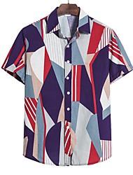 cheap -Men's Graphic Blue & White Print Shirt Hawaiian Going out Purple / Yellow / Blushing Pink / Light gray / Short Sleeve