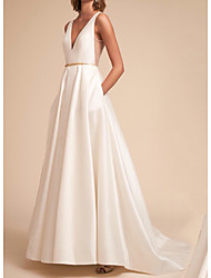 cheap -A-Line V Neck Sweep / Brush Train Satin Sleeveless Formal Wedding Dresses with Crystals / Draping 2020