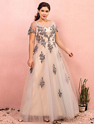 cheap -A-Line Plus Size Grey Prom Formal Evening Dress Illusion Neck Short Sleeve Floor Length Lace Satin Tulle with Sash / Ribbon Appliques 2020 / Illusion Sleeve