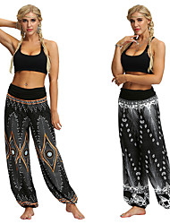 cheap -Women's Dancer Yoga Meditation Masquerade Boho Exotic Dancewear Polyster Black Black+Gray Pants