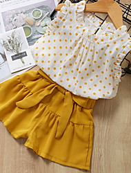 cheap -Baby Girls' Street chic Polka Dot Sleeveless Regular Clothing Set Yellow / Toddler