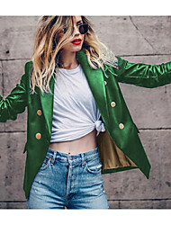 cheap -Women's Daily Regular Jacket, Solid Colored Notch Lapel Long Sleeve Polyester Wine / Green / Blue
