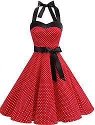 cheap -Women's Loose Dress - Polka Dot Black White Red S M L XL