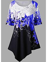 cheap -Women's Color Block Blouse Daily Blue / Purple / Blushing Pink / Fuchsia