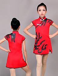 cheap -Cheerleader Costume Gymnastics Suits Women's Girls' Kids Dress Spandex High Elasticity Handmade Short Sleeve Competition Dance Rhythmic Gymnastics Gymnastics Red