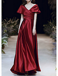 cheap -A-Line Elegant Red Prom Formal Evening Dress V Neck Short Sleeve Floor Length Satin with Pleats Ruched 2020