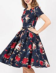 cheap -Women's Sheath Dress - Geometric Navy Blue S M L XL