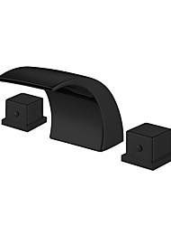 cheap -Bathroom Sink Faucet - Widespread Black Waterfall Basin Sink Mixer Tap Dual Handles Washroom Faucet