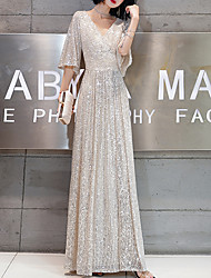 cheap -A-Line V Neck Floor Length Sequined Elegant / Glittering Prom / Formal Evening Dress with Sequin / Ruffles 2020