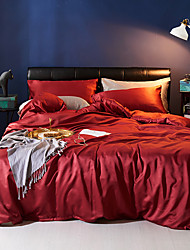 cheap -Duvet Cover Sets 4 Piece Polyester / Viscose Solid Colored Burgundy Printed Simple