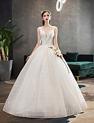 cheap -Ball Gown V Neck Floor Length Polyester / Lace / Tulle Sleeveless Formal / Romantic / Sexy Wedding Dresses with Beading 2020