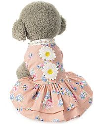 cheap -Dog Costume Dress Dog Clothes Breathable Pink Gray Costume Beagle Bichon Frise Chihuahua Cotton Lace Flower Party Cute XS S M L XL