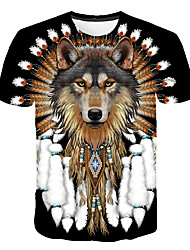cheap -Men's T shirt Graphic Animal Plus Size Print Short Sleeve Daily Tops Basic Black