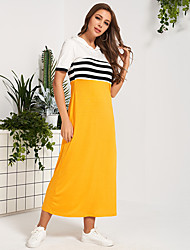 cheap -Women's Maxi Yellow Dress Casual Active Daily Sports A Line Color Block S M