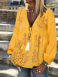 cheap -Women's Daily Beach Boho Cotton Blouse - Floral Floral V Neck Yellow / Spring / Summer