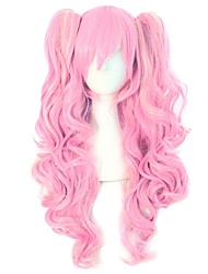 cheap -Synthetic Wig Curly Body Wave Halloween Asymmetrical Wig Pink Long Pink Synthetic Hair 30 inch Women's Best Quality Pink