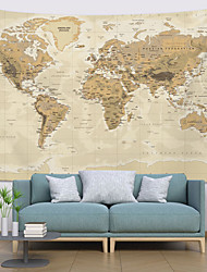 cheap -Wall Tapestry Art Decor Blanket Curtain Picnic Tablecloth Hanging Home Bedroom Living Room Dorm Decoration World Map Topography Parchment Style