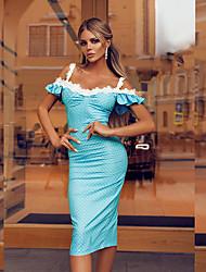 cheap -Women's Sheath Dress - Polka Dot Red Blue S M L XL