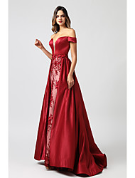 cheap -Mermaid / Trumpet Off Shoulder Court Train Satin / Tulle Luxurious / Red Prom / Formal Evening Dress with Appliques / Overskirt 2020