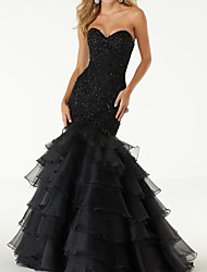 cheap -Mermaid / Trumpet Wedding Dresses Sweetheart Neckline Sweep / Brush Train Polyester Sleeveless Country Plus Size Black with Appliques Cascading Ruffles 2020