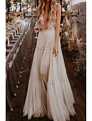 cheap -A-Line Plunging Neck Court Train Polyester Sleeveless Country Plus Size Wedding Dresses with Draping 2020