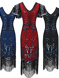 cheap -The Great Gatsby Vintage 1920s Flapper Dress Dress Party Costume Women's Sequin Costume Black / Red / Blue Vintage Cosplay Party Short Sleeve