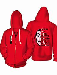 cheap -la casa de papel Dali Hoodie Men's Women's Movie Cosplay Cosplay Red Top Hoodie Christmas Halloween Carnival Poly / Cotton Blend / Cap Sleeve