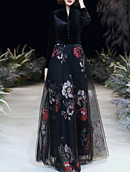 cheap -A-Line Floral Black Party Wear Formal Evening Dress High Neck Long Sleeve Floor Length Tulle Velvet with Buttons Pattern / Print 2020