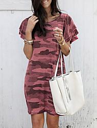 cheap -Women's Wine Purple Dress Sheath Floral S M