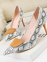 cheap -Women's Heels Print Shoes Stiletto Heel Pointed Toe Suede Spring & Summer Pink / Green / White / Daily / 3-4