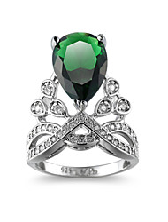 cheap -Women's Ring AAA Cubic Zirconia 1pc Silver Copper Pear Sweet Festival Jewelry Hollow Out Environmental